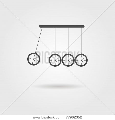 Newton's Cradle icon, concept of procrastination