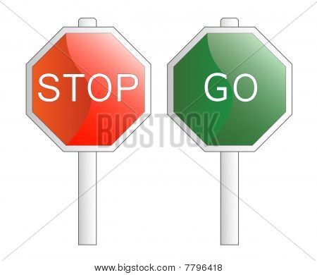 Vector Illustration. Stop And Go Signs. Isolated On White.