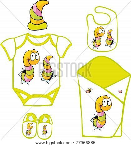 Cute Baby Layette With Cute Caterpillar And Butterfly - Vector Illustration