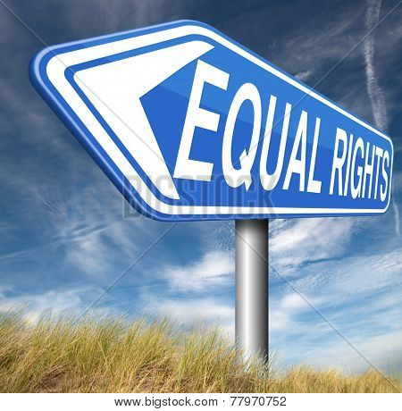 equal rights no discrimination and same opportunities for all women man disabled black and white solidarity discrimination of people with disability or physical and mental handicap