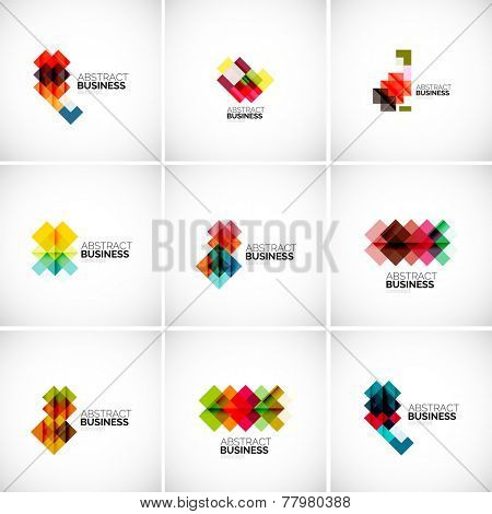 Company vector logo branding design elements. Set of abstract shaped vector symbols.