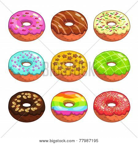 Set of cartoon colorful donuts