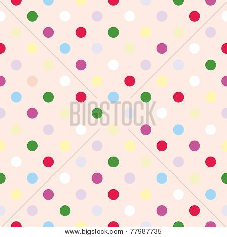 Seamless vector pattern or tile texture with polka dots on pink background