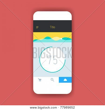 Flat ui screen for mobile app design or wireframe application.