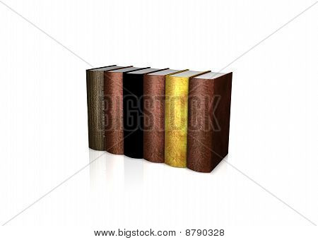 Line Of Ancient Books Over White Background