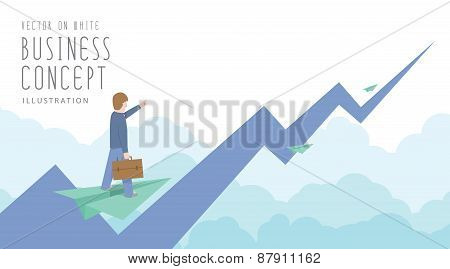 Businessman Ride On Paper Plane To The Top Of The Stock Market Flat Vector.