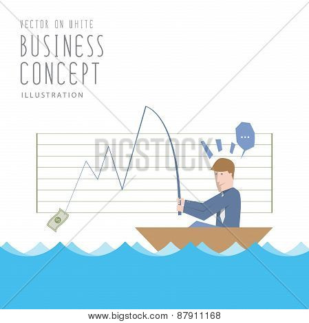 Businessman Fishing Money Flat Vector. Business And Investment Concept.