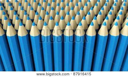 A Pile Of Blue 3D Crayon On A White Background
