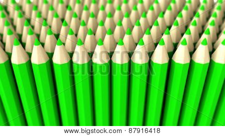 A Pile Of Green 3D Crayon On A White Background