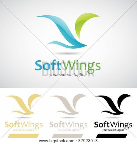 Blue and Green Soft Wings Bird Icon Vector Illustration