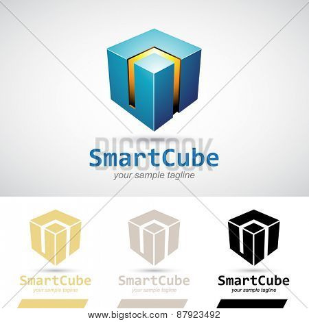 Blue Shiny 3d Cube Icon Vector Illustration