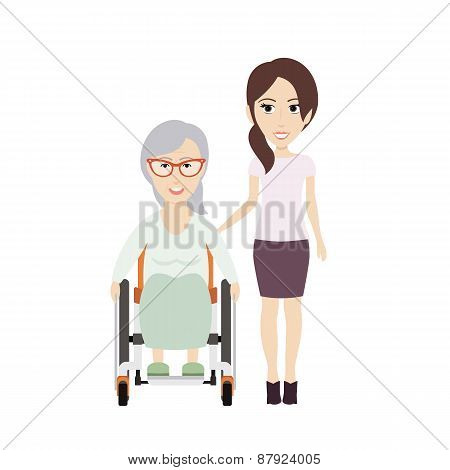 Girl Helps Grandma