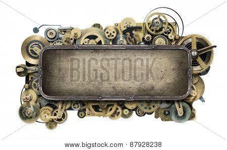 Stylized mechanical clockwork background.