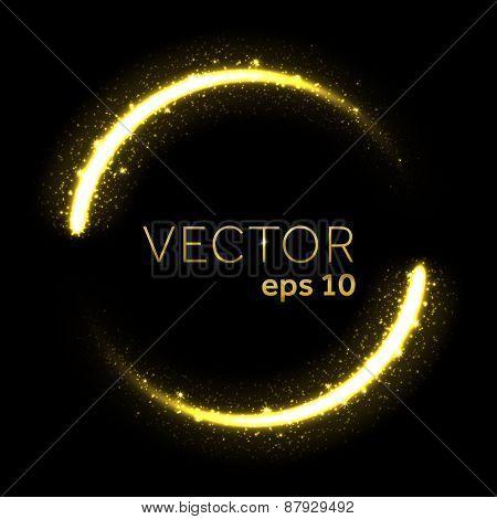Gold glittering star dust lights circle
