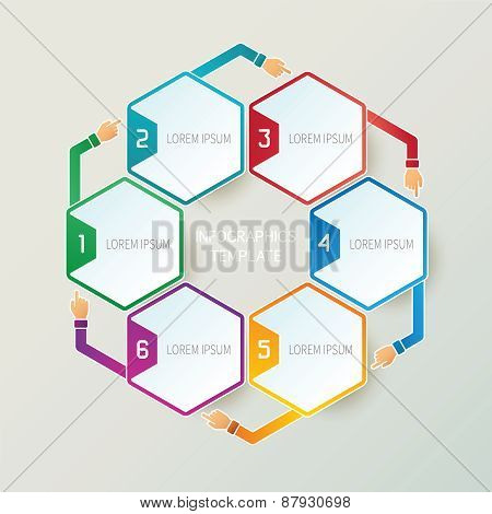 Abstract Vector 6 Steps Infographic Template In 3D Style For Layout Workflow Scheme, Numbered Option