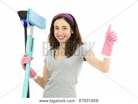Friendly Cleaning Lady Giving Thumbs Up