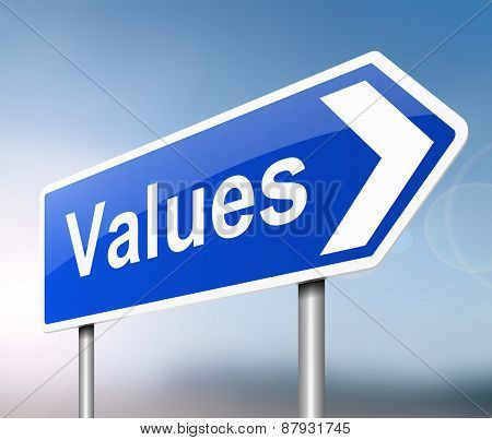 Illustration depicting a sign with a values concept. poster
