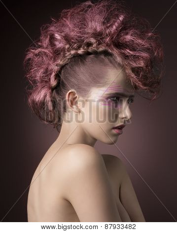 Glamour Girl With Punk Hairdo