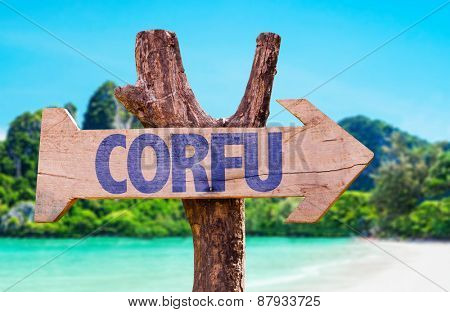 Corfu wooden sign with beach background