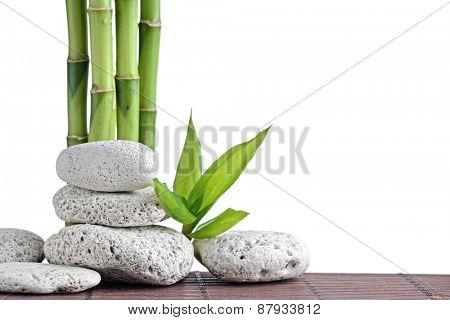 zen  stones and bamboo isolated on white
