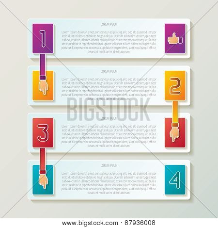 Abstract Vector 4 Steps Infographic Template In 3D Style For Layout Workflow Scheme, Numbered Option