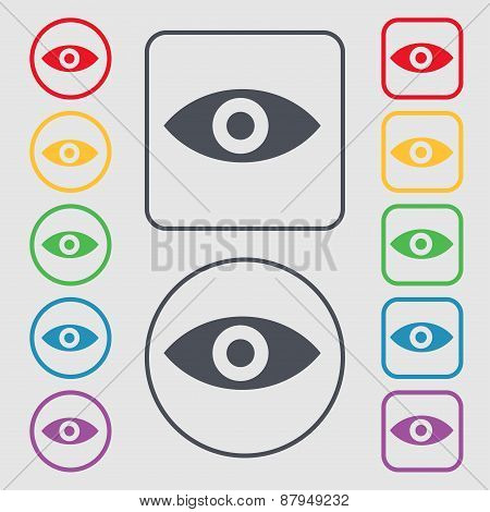 Eye, Publish Content, Sixth Sense, Intuition Icon Sign. Symbol On The Round And Square Buttons With