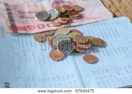 Thai money bath and Saving Account Passbook image poster