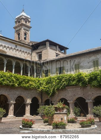 Tolentino (Macerata Marches Italy): the cloister of the historic San Nicola church poster