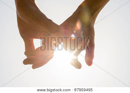 Couple Holding Hands Toward The Sun