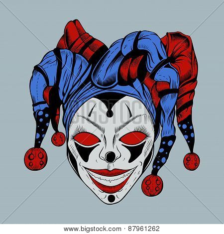 Illustration of evil clown in colored cap.