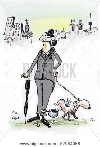 English gentlemen and his dog