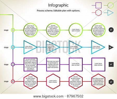 Infographic process scheme. Editable plan with options. poster