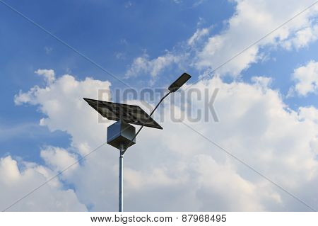 Closeup Of Solar Panel On Electric Pole, Solar Energy For Lightning Of Highway, Brazil