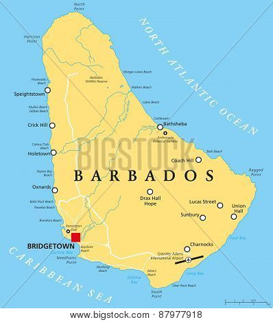 poster of Barbados Political Map with capital Bridgetown, with important cities, places and rivers. English labeling and scaling. Illustration.