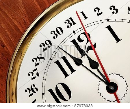 Clock face with hands approaching midnight