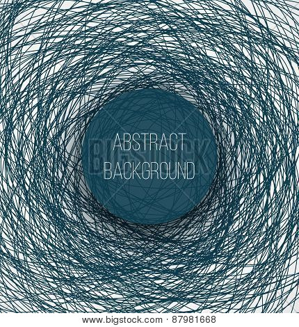 Abstract blue chaotic sketch lines background and circle banner with shadow