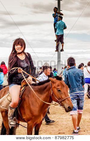 Horseback Girl In Shorts, Nadaam Horse Race, Mongolia
