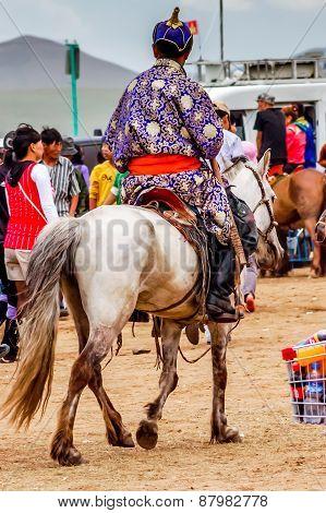 Horseback Spectator In Traditional Deel, Nadaam Horse Race, Mongolia