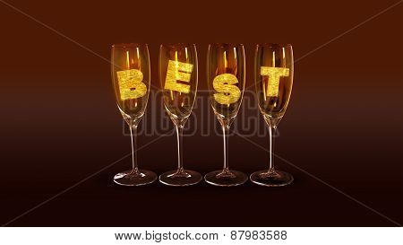 A few glasses with the text