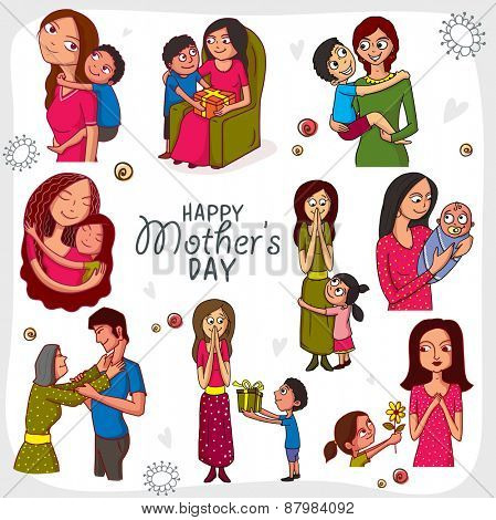 Creative set showing different roles and gestures of a mom on occasion of Happy Mother's Day celebration.