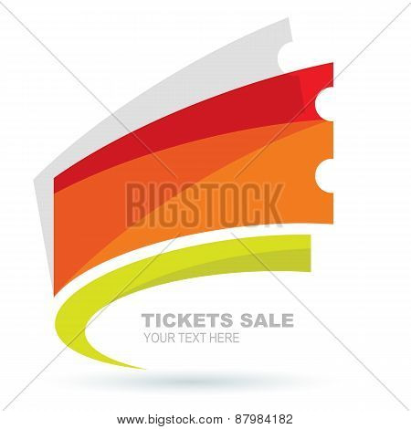 Abstract Colorful Ticket Illustration Background. Vector Logo Design Template