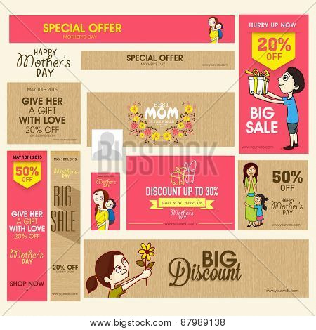 Social media and marketing header or banner set of Big Sale with discount offer for Happy Mother's Day celebration. poster