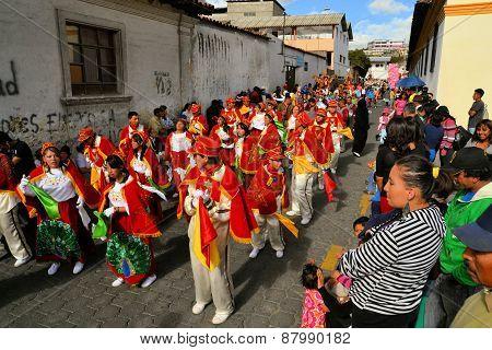Latacunga, Ecuador 30 September, 2012: A parade march during La Fiesta de la Mama Negra traditional festival,  a mixture of indigenous, Spanish and African influences, in Latacunga, Ecuador.