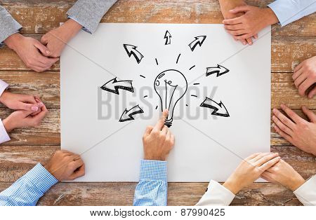 business, people, idea, inspiration and team work concept - close up of creative team sitting at table and pointing finger to bulb doodle on paper in office