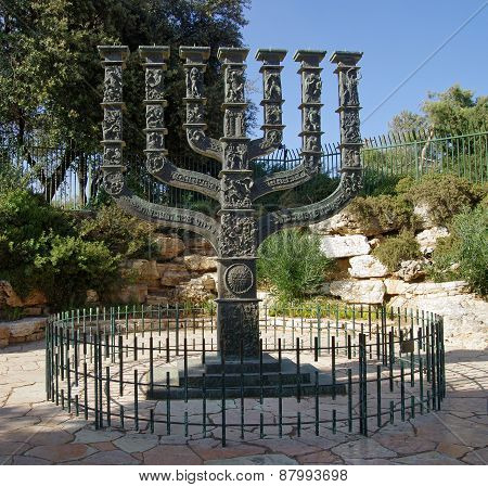 Menorah In Front Of The Knesset In The Park Of Roses