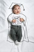 Cute infant baby boy wearing graduation gown and mortarboard sketch poster