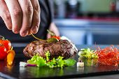 Chef in hotel or restaurant kitchen cooking, only hands. Prepared beef steak with vegetable decoration. poster