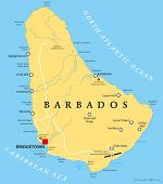 Barbados Political Map with capital Bridgetown, with important cities, places and rivers. English labeling and scaling. Illustration. poster