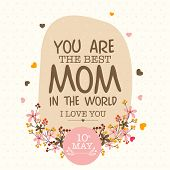 Colorful flowers decorated greeting or invitation card design for 10th May, Happy Mother's Day celebration. poster