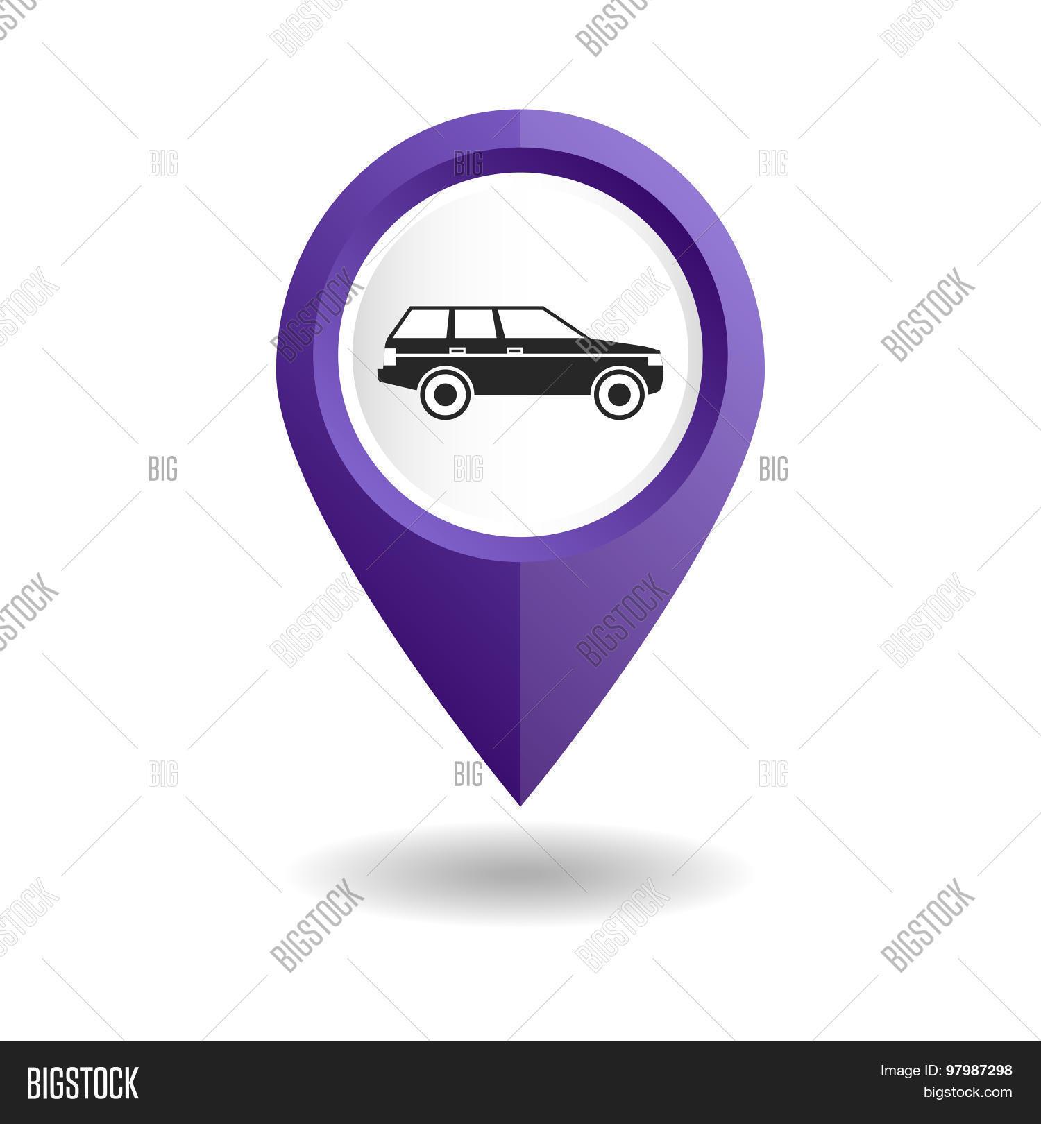 Violet map pointer car icon gps vector photo bigstock violet map pointer with a car icon gps location symbol of a car shop biocorpaavc Choice Image